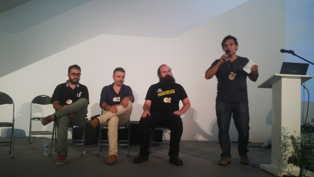 Fab Labs Talk, from left to right: Fabio López, Cesáreo González, César García, Beno Juárez