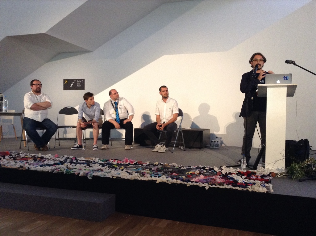 Open Hardware panel talk. From left to right: Massimo Banzi, Alastair Parvin, Giovanni Re, Tomas Diez and Simone Cicero